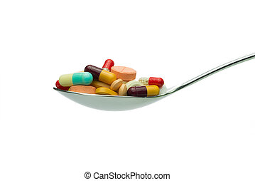 Spoon full of medicine pills - Spoon full of variety ...