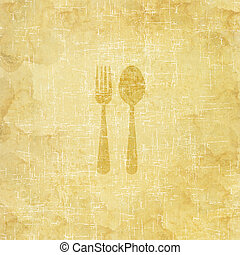 Spoon icon on old paper background