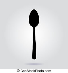 Spoon icon. Vector flat sign on gray background