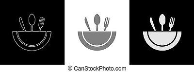 Spoon knife fork icon set
