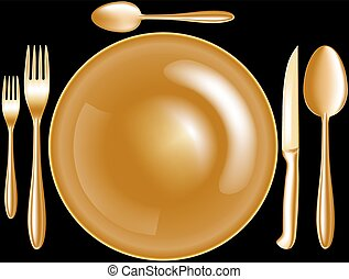 spoon knife fork plate