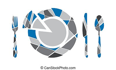 Spoon, knife, fork, plate of triangles on a white background