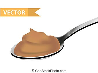 Spoon of caramel, realistic 3d style. Teaspoon, tablespoon. Isolated on white background. Vector illustration.