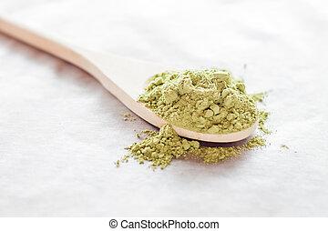 Spoon of green tea powder