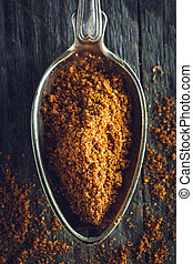 Spoon of ground nutmeg powder