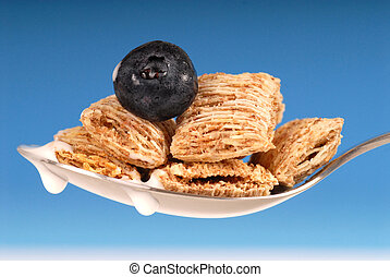 Spoon of shredded wheat cereal with blueberry - Spoonful of ...