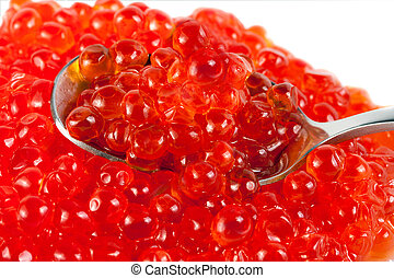 spoon red caviar isolated on white background
