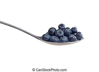 Spoon with blueberries