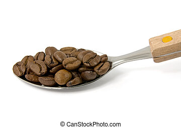 spoon with coffee beans on white