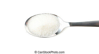 Spoon with sugar isolated on white background, close up