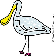 spoonbill isolated on white drawn in toddler art style