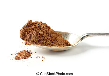 Cocoa powder on a silver spoon. Natural light, on white.