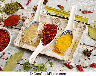 Spoons of spices