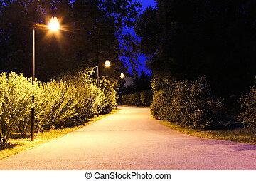spoor, in het park, lit
