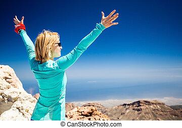 spoor, vrouw, bergen, wandelende, succes