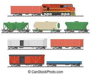 spoorweg, cars., verzameling, vracht