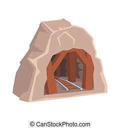 spoorweg, ingang, concept, houten, industrie, mijn, illustratie, vector, mijnbouw, spotprent