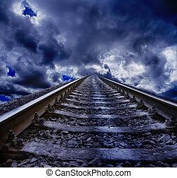 spoorweg, op de avond