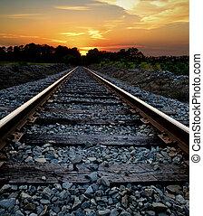 spoorweg, op, ondergaande zon