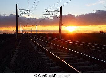 spoorweg, op, schemering