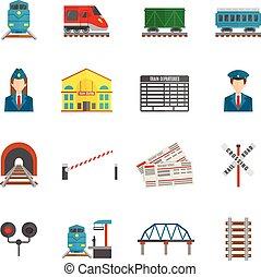 spoorweg, set, iconen
