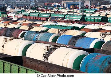 spoorweg, tanks, voor, mineraal, olie, en, anderen, ladingen