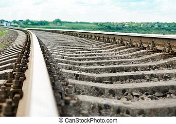 spoorweg, zachte focus, closeup.