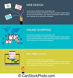 spopping pay per click - vector illustration of web design,...