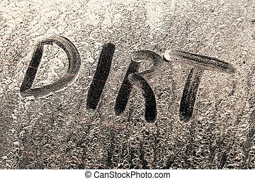 sporcizia, parola, su, uno, sporco, finestra