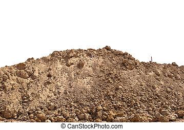sporcizia, suolo, isolato, mucchio, fondo, bianco, o