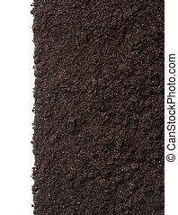 sporcizia, suolo, isolato, struttura, fondo, bianco, o