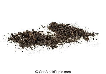 sporcizia, suolo, mucchio, isolato, bianco, fondo.