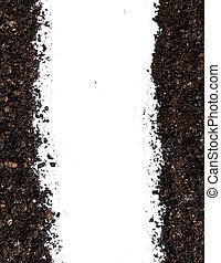 sporcizia, suolo, mucchio, isolato, bianco, fondo, vista superiore