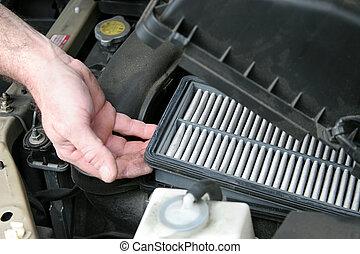 sporco, automobile, aria, filtro