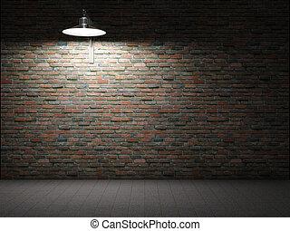 sporco, muro di mattoni, illuminato