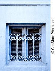 sporco, vecchio, finestra sbarre, su, uno, grungy, costruzione