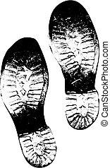sporco, vecchio, stivali, piede stampa, vettore, versione