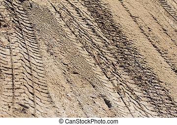 sporen, van, de, machine, op het terrein