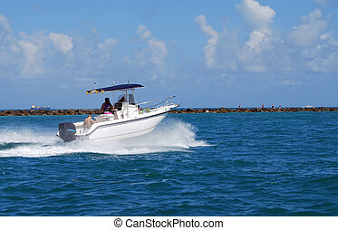 Sporfishing Boat - Sportfishing boat exiting government cut...