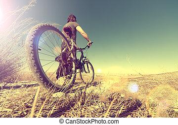 sport, és, egészséges, life.mountain, bicikli, és, táj, háttér