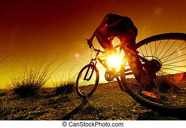 sport, és, hegy bicikli