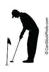 sport, öva, -, grön, silhuett, golfspelare, golf