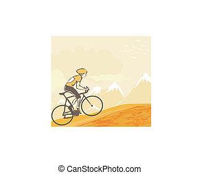 sport, út bicikli, bicikli rider, alatt, vad, természet parkosít
