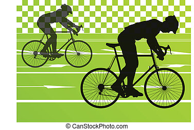 sport, út bicikli, lovasok, bicikli, körvonal, vektor