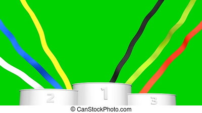 Sport 3d podium on chromakey green screen background. Looped animation