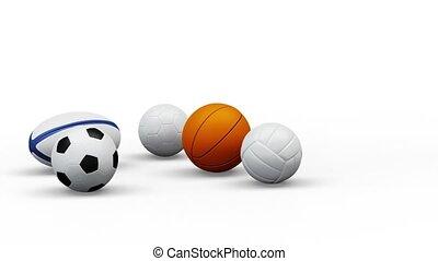 sport, 5, balles, tourner, équipe, infini