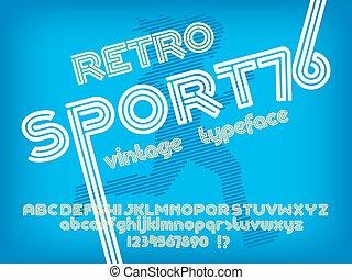 Sport 76 font. Retro Vintage typeface. Line Alphabet. Type...