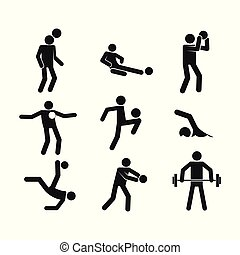 Sport Abstract Figure Symbol Vector Illustration Graphic Set