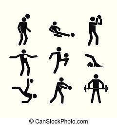 Sport Abstract Figure Symbol Vector Illustration Graphic Set