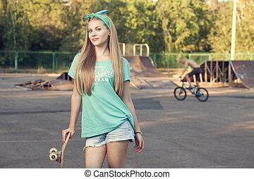 sport, adolescente, suolo